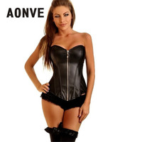 b02df57d6 Steampunk Corset Leather Gothic Clothing Waist Trainer Sexy Lingerie Waist  Trainer Corsets With Zipper Slimming Underwear