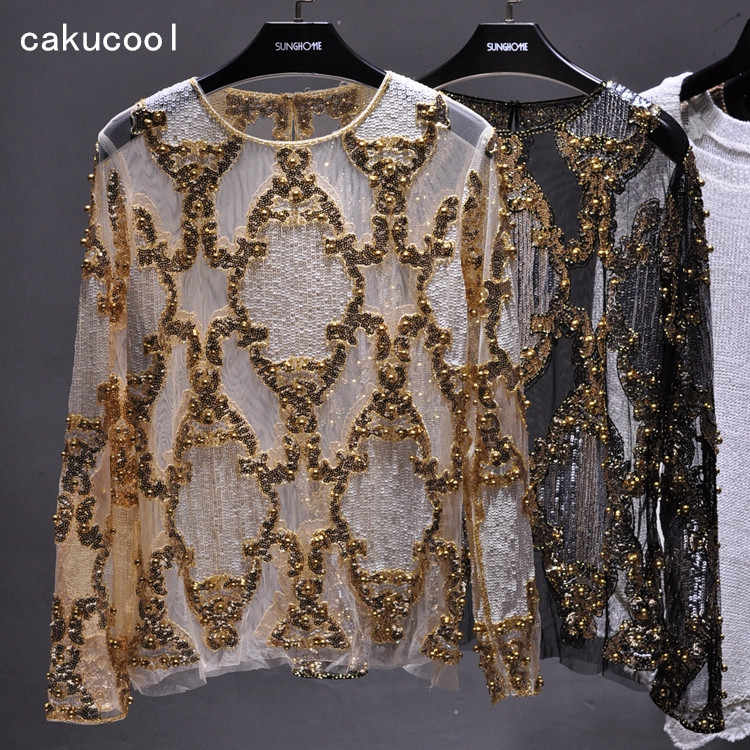 Detail Feedback Questions about Cakucool Women Sequined Blouse Tops See  through Sexy O neck Mesh Blusas Shirt Long Sleeve Floral Beading Lady  Blouses Large ... 16c9590aefbf