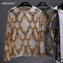 Cakucool Women Sequined Blouse Tops See-through Sexy O-neck Mesh Blusas Shirt Long Sleeve Floral Beading Lady Blouses Large 2xl