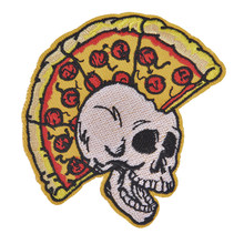 Punk Pizza crâne Biker Patch repassage sur brodé Cool Patch vêtements autocollants couture appliques chaussures sac à dos vestes Badges(China)