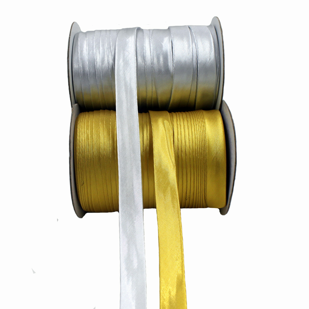 """Polyester 5/8""""(15mm) Gold And Silver Satin Bias Tape Bias"""