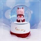 Creative Small Deer Crystal Ball Music Box Ornament Resin Crafts Snow Rotating Crystal Ball Music Box Home Decor Christmas Gift
