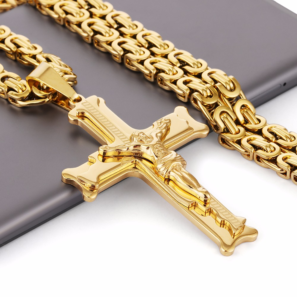 US $10 6 24% OFF|Gold Color Stainless Steel Jesus Cross Pendant Necklace  6mm Link Byzantine Chain Necklace Long Heavy Men Jewelry collares MN68-in