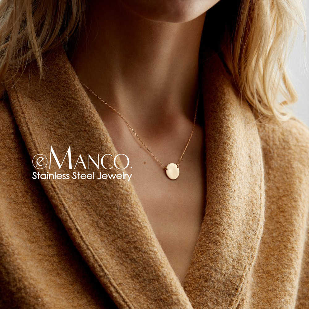 e-Manco Korean Style Stainless Steel Necklace women Thin Dainty Gold Color Choker Necklaces for women Necklaces Jewelry