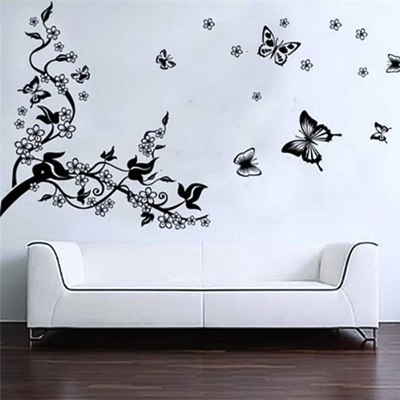 ᗑ】DIY Black Butterfly Vine Flower wall stickers ZOOYOO wall decals ...