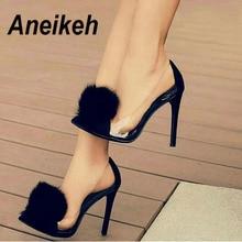 Aneikeh/прозрачные туфли-лодочки из прозрачного ПВХ женские Вечерние туфли на высоком тонком каблуке без застежки с острым носком черные туфли-лодочки для ночного клуба, Размеры 35-40