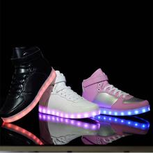 2017 New Kids Boys Girls USB Charger Led Light Shoes High Top Luminous Sneakers casual Lace Up Shoes Unisex for children sneaker