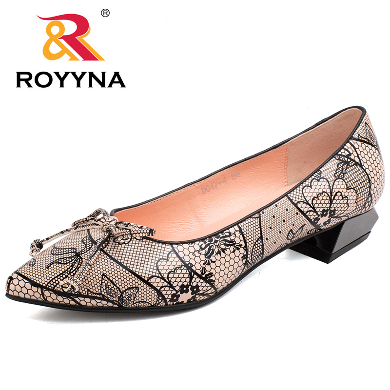 ROYYNA 2017 New Style Women Shoes Pointed Toe Women Dress Square Heels Ladies Flats Soft Light Comfortable Fast Free Shipping royyna new sweet style women sandals cover heel summer gingham women shoes casual gladiator ladies shoes soft fast free shipping