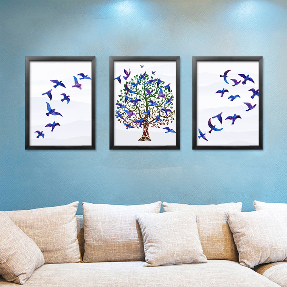 Auspicious Tree Decorative Painting For Bedroom Room Bird Canvas Watercolor Colorful Home Wall Art Posters