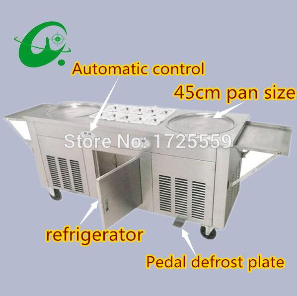 2 round pan fried ice cream roller rolling machine With 10 Cooling Storage Barrel stainless steel ice cream roll maker machine free shipping big pan 50cm round pan roll machine automatic fried ice cream rolling rolled machine frying soft ice cream make