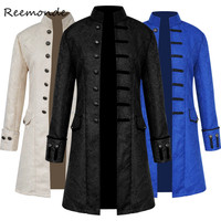 Medieval Retro Men Dust Coat Medium Style Steam Punk Cosplay Costumes Palace Dress Jacquard Men's Jackets Halloween Costume