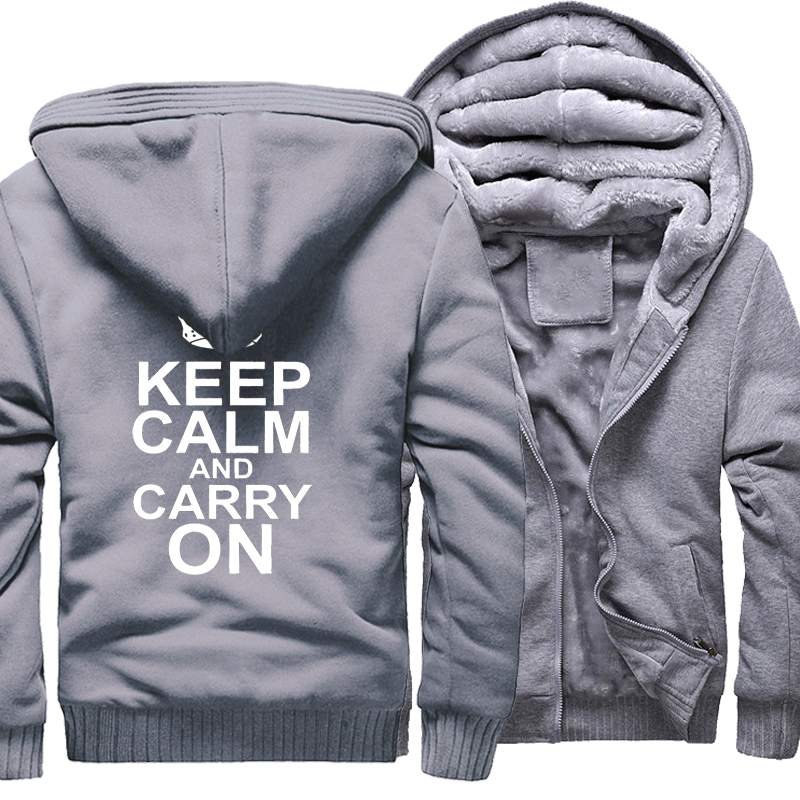Fashion Hoody Print Letter Keep Calm And Carry On Casual Sweatshirt For Male 2017 Winter Thick Hoodies Mens Tracksuits Harajuku