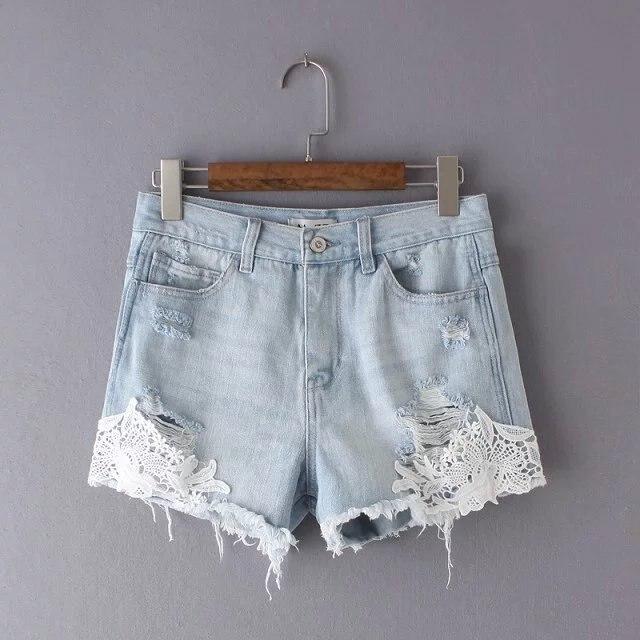 summer new lace denim shorts washed white shorts femme