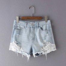 Летний новый кружева джинсовые шорты промытые белые шорты femme