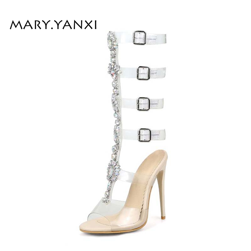 Women Plus Size Shose Gladiator Sandals Boots Transparent Rhinestone Crystal Bling Fashion Casual High Thin Heels Buckle Strap