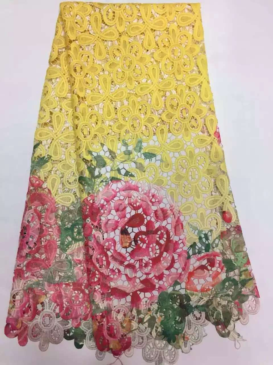 RF507 Applique Patch 3D Flower Golden Sequin Crystal Embroidery African Lace Guipure Fabric Material Sew Wedding