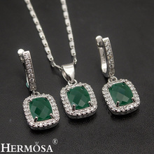 Classic Gift Grace Women Jewelry Sets 925 Sterling Silver Necklace Earrings Set Fashion Hermosa