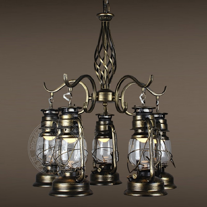 Male beauty lighting lantern chandelier Kerosene Lamp Retro iron lamp chandelier American coffee restaurant ZZP426158 iron lantern