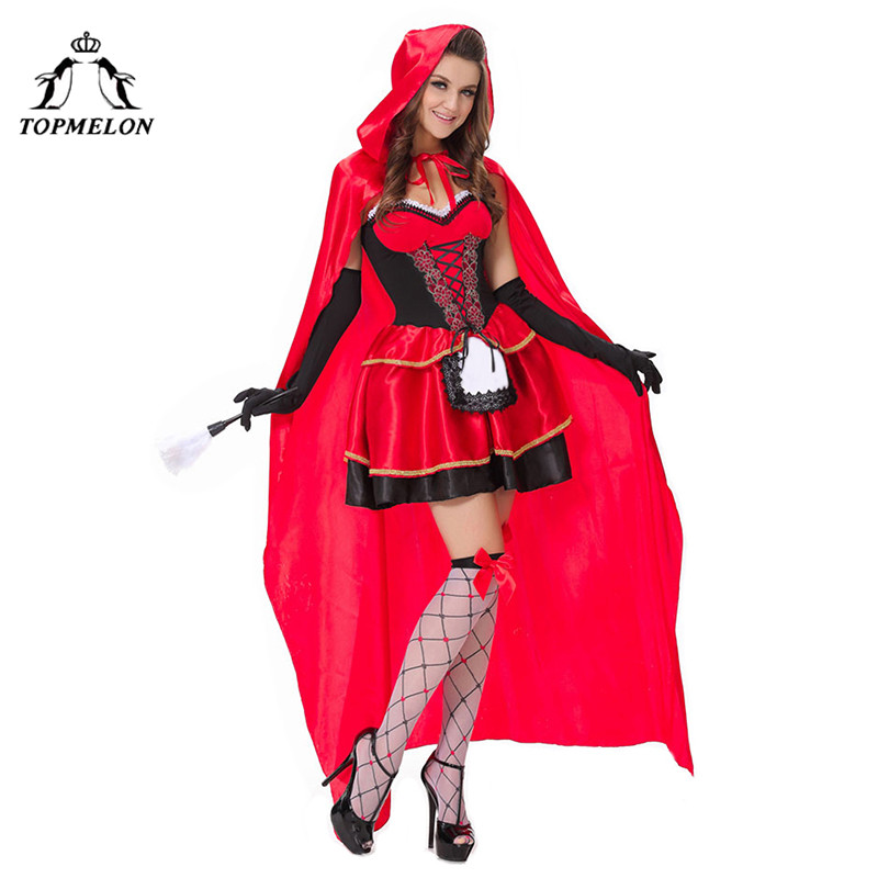 TOPMELON Adult Costume Red Dress with Long Cloak Sexy Lace Up Slimming Short Apron Dress with Gloave Set Women Cosplay