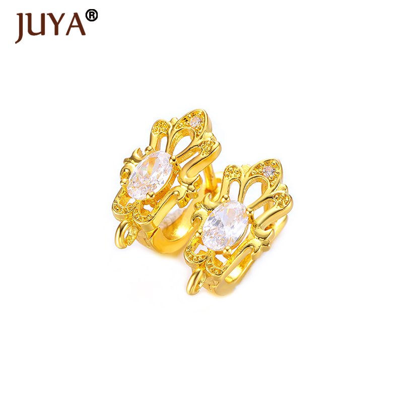 6 Style Gold Silver Rose Gold Black Fashion Copper Zircon Rhinestone Hoop Earrings Accessories DIY Findings for Jewelry Making