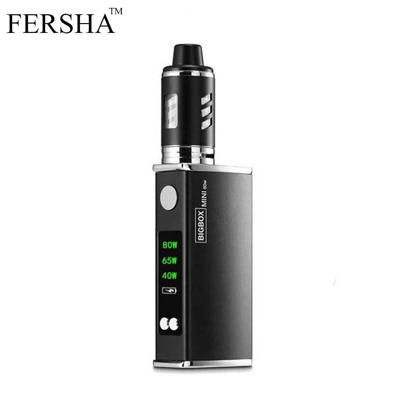 FERSHA cigarrillo electrónico 80 W kit de caja mod vaporizador ajustable 2200 mAh ohm batería 3 ml tanque cigarrillo electrónico atomizador de humo grande