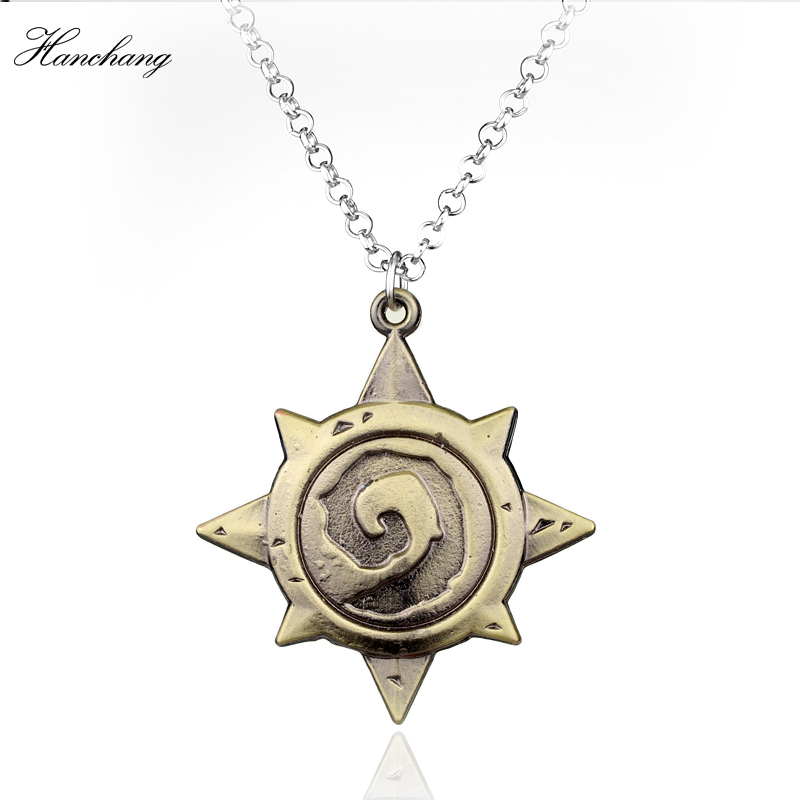 Hot Sale Game Series Latest Cool Pendant Necklace Hearthstone Heroes of War Craft Mark Antique Bronze Pendant Necklace Men Gift