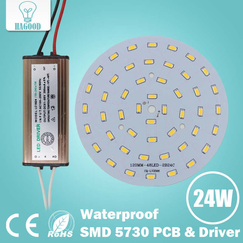 100pcs 3W 5W 7W 9W 12W 15W 18W 24W 5630/ 5730 SMD Light Board Led Lamp Panel + Waterproof AC100-240 V LED power supply driver