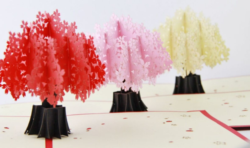 Cherry blossoms trees delux  /3D pop up greeting card/ handmade kirigami card  Free shipping music card spiral pop up musical notes 3d card music instruments pop up card bday pop up card
