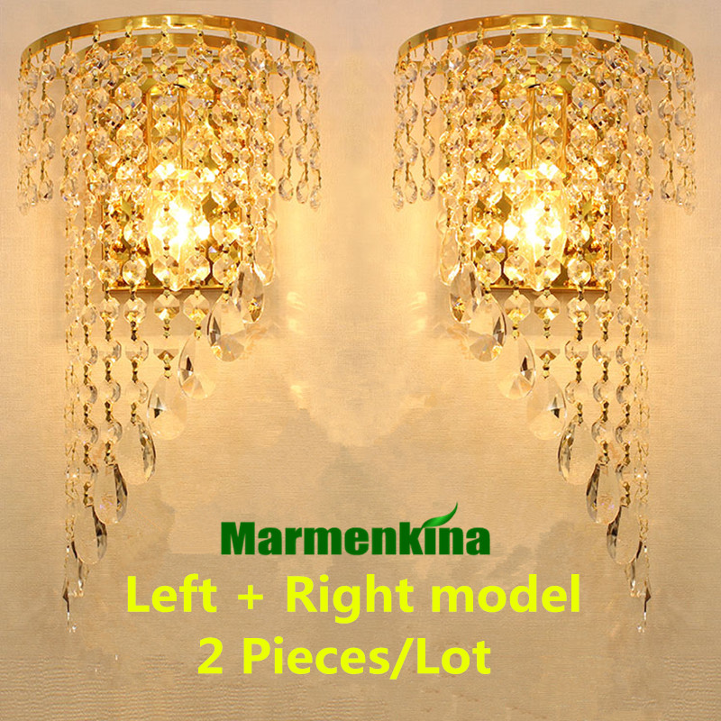 European simple crystal E27 wall lamp living room bedroom bedside aisle TV wall lamp K9 crystal, Left + right model 2pieces/lot modern simple crystal wall lamp aisle lamp bedside wall living room lighting fixture bedroom dining room crystal led wall lamp