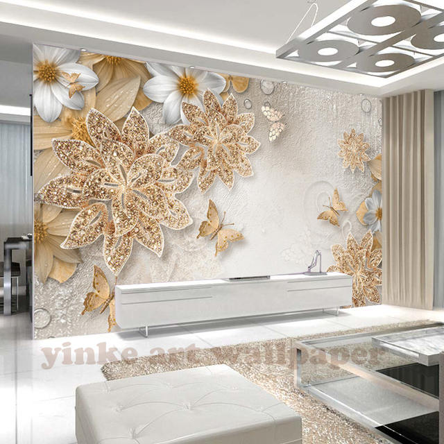 custom 3d muurschildering behang voor slaapkamer muren 3d luxe gouden sieraden bloem vlinder achtergrond behang interieur