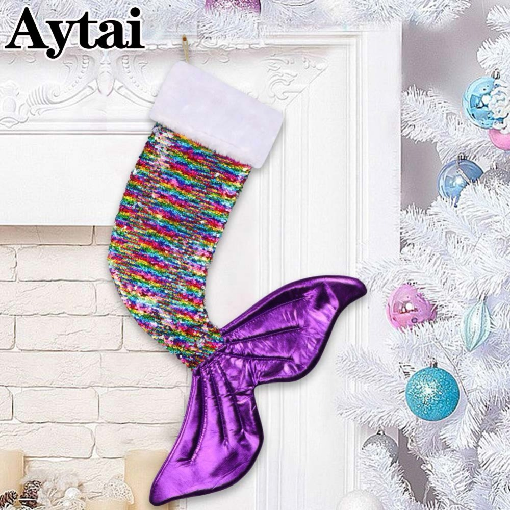 Aytai Grande Taille Cadeau De Noël Sac Scintillant Sirène Queue Bas De Noël Sequin Sirène Queue Magique Réversible Bas 60x45 cm