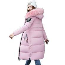 Brieuces new Big fur winter coat thickened parka women slim long down cotton Plus Size jacket