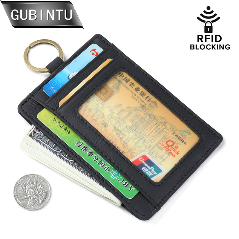 Genuine Leather Thin Credit Card Holder Mini Wallets Key Holder Rfid Blocking Bank Credit Card Small Cash Purse Clip Pocket