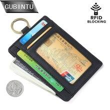 Genuine leather Thin Credit Card Holder Mini Wallets Key Holder Rfid Blocking Bank Credit Card Small Cash Purse Clip Pocket