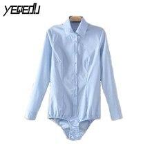 2102 синий/белый длинный рукав боди рубашка для женщин боди Feminino сексуальные топы Блузка женские повседневные рубашки Femmes размера плюс XXXL