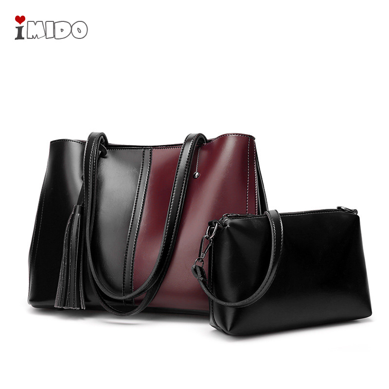 Sac à main femme grande épaule Vintage lambrissé huile cuir sacs à main 2 pièces ensembles Simple Shopper bandoulière sacs bureau sac à main 2019