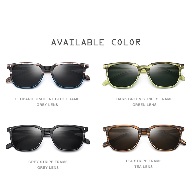Image 5 - Acetate Polarized Sunglasses Men 2019 New High Quality Vintage Square Sun Glasses for Women Men's Korea Goggles Sunglass 9114-in Men's Sunglasses from Apparel Accessories