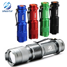 CREE Q5 2000lm 5 Colors LED Flashlight  Waterproof LED Laterna 3 Modes Zoomable PortableTorch penlight AA 14500 Give free gift