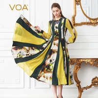 VOA Heavy Silk Plus Size 5XL Pleated Dress Women Floral Print Boho Party Dress Casual Yellow Slim Tunic Long Sleeve Spring A128
