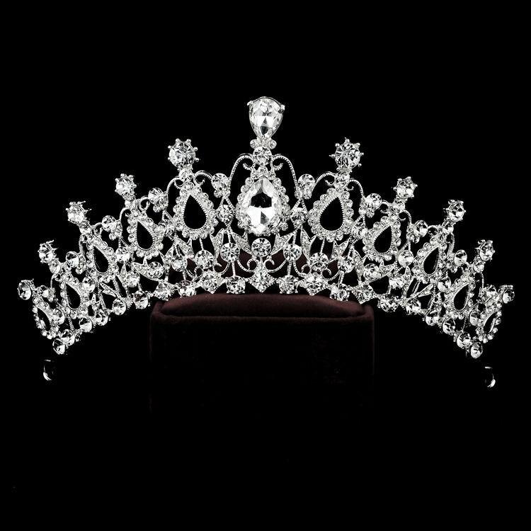 bride wedding dress accessories crown Rhinestone Hair Baroque Flower Girl