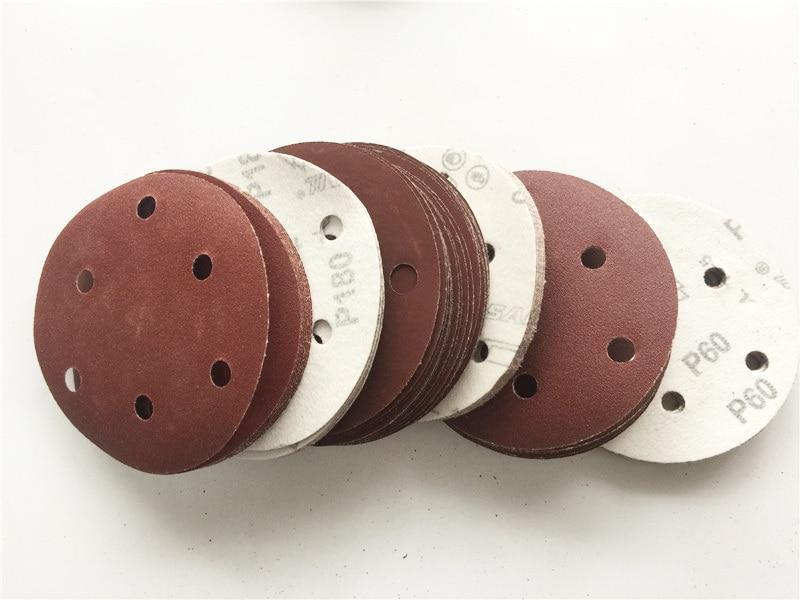 5 125mm Abrasive Sand Disc Sand Paper 6 Holes Sanding Disc 40 2000 Grit Sandpapers