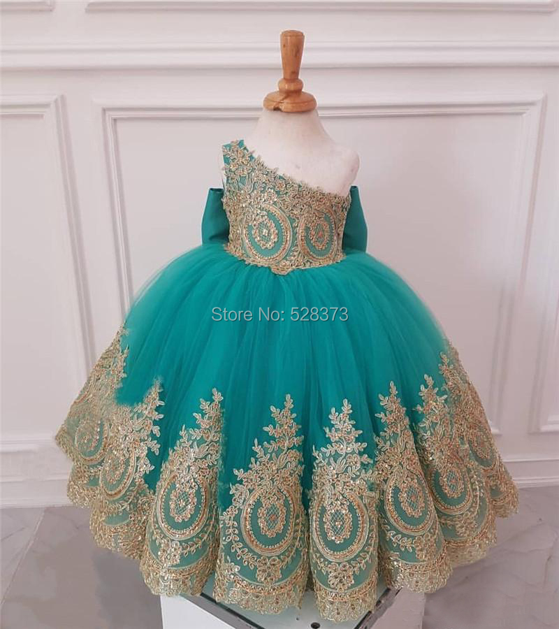 YNQNFS FG41 Real Pictures Tutu Floor Length Teal/Gold Two Color One Shoulder Party   Dresses   Kids   Flower     Girl     Dresses