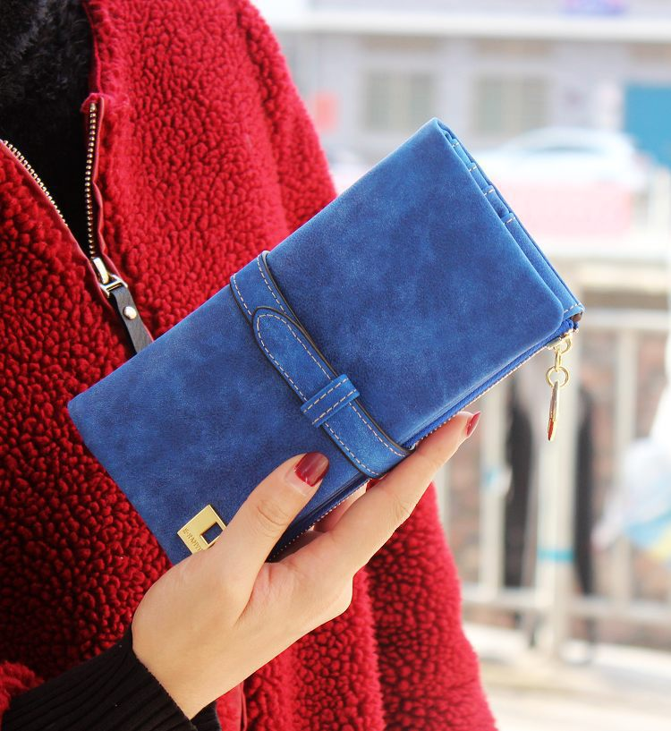 Solid Drawstring Nubuck Leather Zipper Long Women Wallet Phone Bag Luxury Brand Wallets Designer Purse Card Holder Clutch Bag