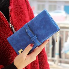 Solid Drawstring Nubuck Leather Zipper Long Women Wallet Pho