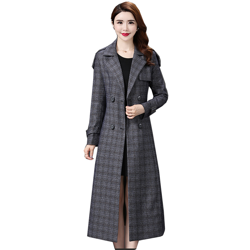 New Long   Trench   Coat For Women Clothes Spring Double-Breasted Elegant Plaid   Trench   Coat Abrigo Mujer Windbreaker Outwear NW1072