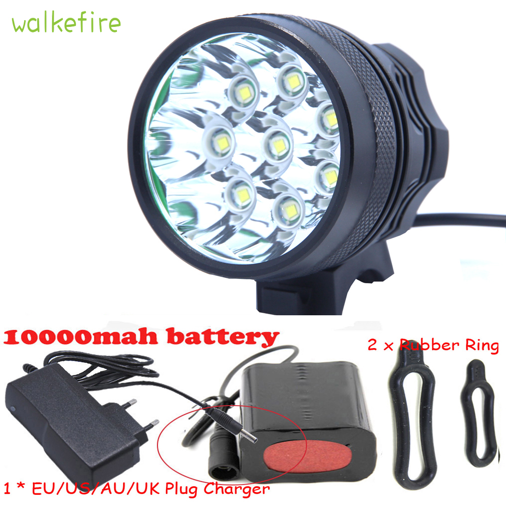 Walkfire Led Bicycle Front Bike Head Light 12000 Lumens 8 x XML T6 LED Cycling Light + 3 Modes + 6*18650 Battery Pack + Charger walkfire waterproof bike light headlamp 20000 lumens 12 x xml t6 led bicycle cycling head light 18650 battery pack charger
