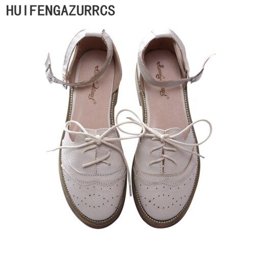 HUIFENGAZURRCS Genuine Leather Sandals pure handmade shoes the retro art mori girl Flats shoes Retro classic