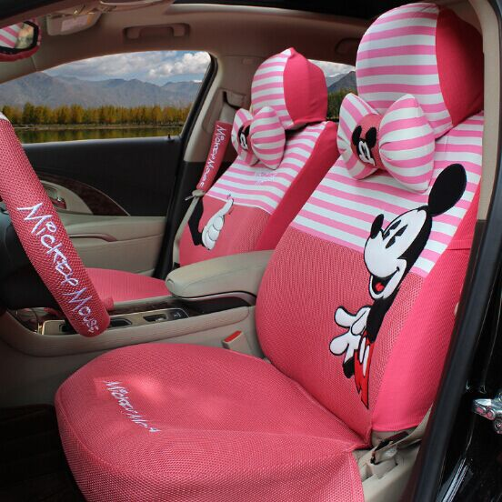 Fashion Luxury Pink Stripe Mickey Mouse Car Seats Covers Full Set Front Rear Polka Dot All In One Four Seasons Automobiles Seat From