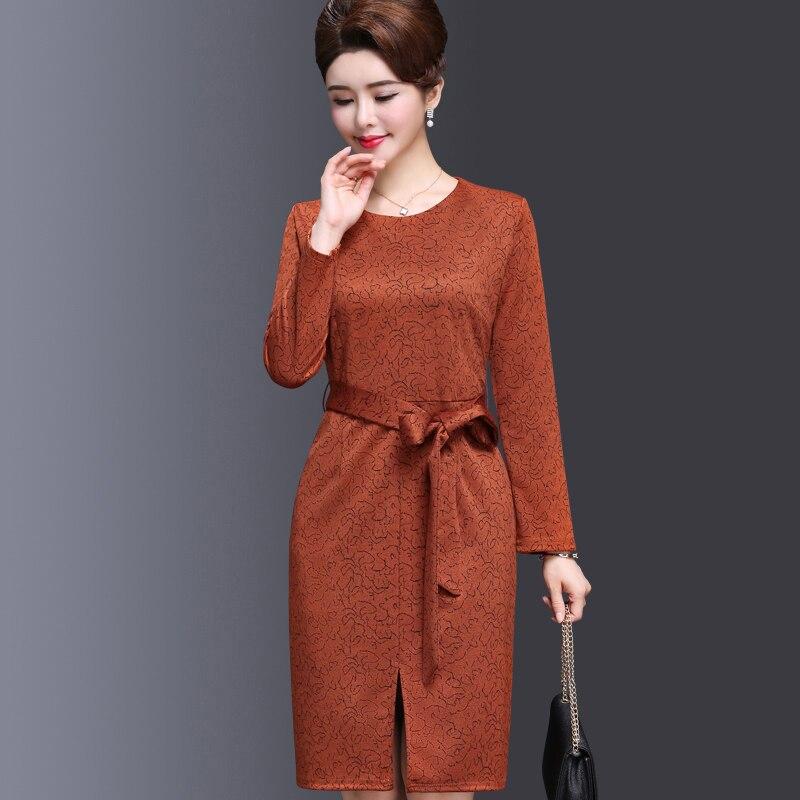 Nouveau Genou longueur Élégant Ceintures Soirée Femmes Gris Mode Nw1169  Imprimer Partie De Printemps orange Avec 2019 Robes Robe Automne ... 8b3cb81ec93