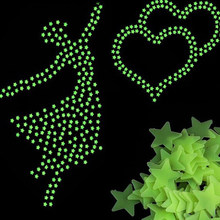 Romantic Noctilucent Star Shape Sticker Festivel Fluorescent Stickers 3d Wall Decoration Stick Sweet Night Stars(China)